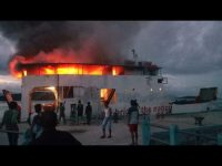 Diduga Korsleting lisrik, Kapal Roro Rute Jagoh-Penarik Terbakar